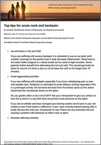 Top tips for acute neck and backpain